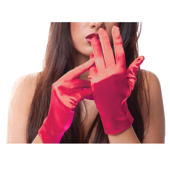 Red Short Satin Gloves  12 PACK WS1203D