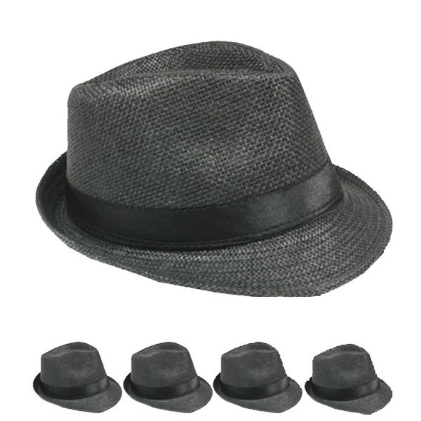 12 PACK Black Gangster Fedoras Cuban Tweed WS1316D Adult Size