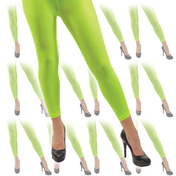 Neon Green Footless Tights 12 PACK WS8015D