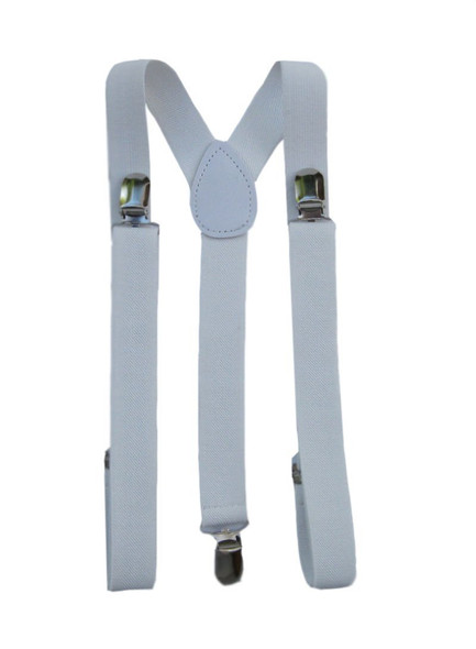 White Suspenders Wholesale Bulk Clip On Elastic 12 PACK WS1288D