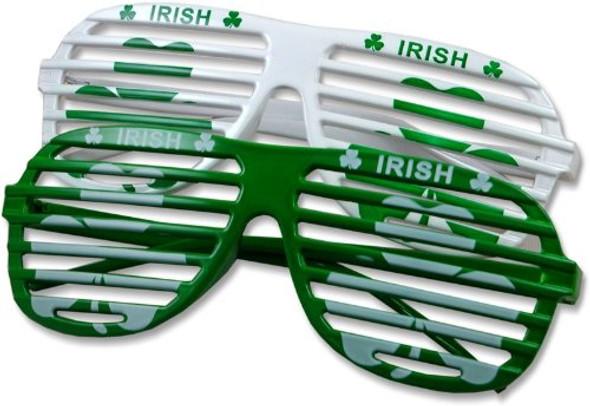 St Patricks Day Glasses Green Shamrock Irish Shutter Shades 12 PACK WS1167D