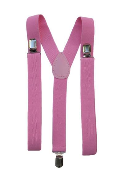 Pink Suspenders Bulk Wholesale Clip On Elastic 12 PACK WS1289D