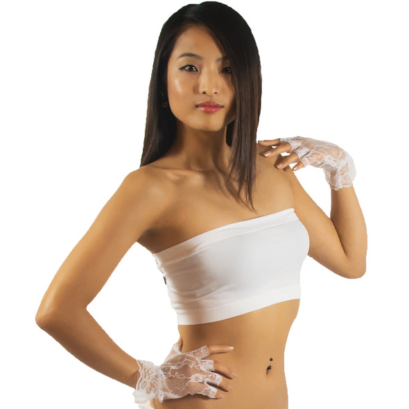 Sexy Fingerless Lace Gloves |  White 12PK WS5055D
