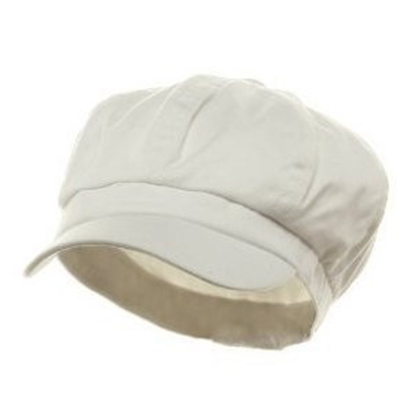 Newsboy Cap White Adult  Polyester/Rayon  12 PACK WS1402D