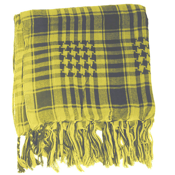 12 PACK Black And Yellow Arab Shemagh Houndstooth Scarf WS2085D