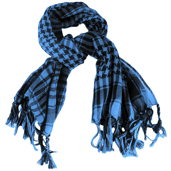 12 PACK Black/ Royal Blue Arab Shemagh Houndstooth Scarf WS2082D