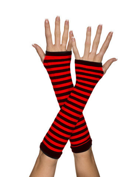 Black and Red Striped Arm Warmer  12 PACK WS1251D