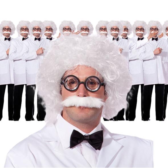 Einstein Wig and Mustache 12 PACK WS6021D