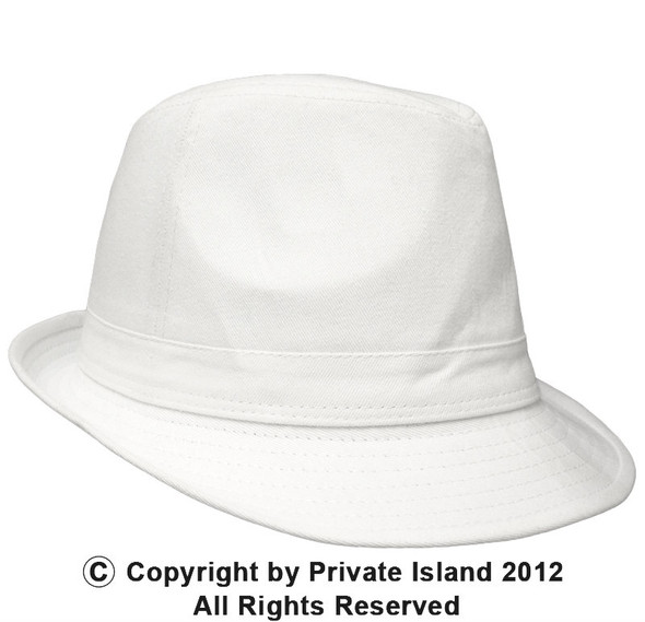 12 PACK  White Cotton Fedora Hats WS1312D Adult Size