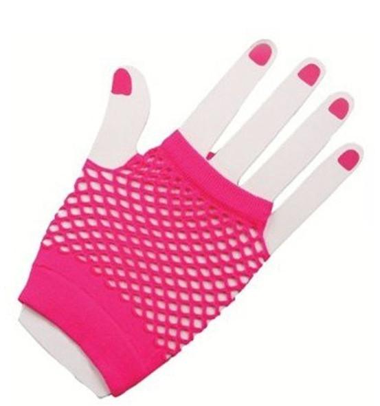 80's Short Fishnet Gloves -  12 PACK Neon Pink WS1237D