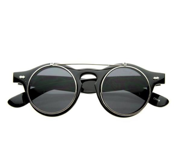 Retro Steampunk Circle Flip Up Sunglasses gold 1036
