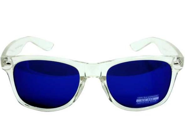 Vintage 80 Style Clear Frame Blue Lens Sunglasses 7062