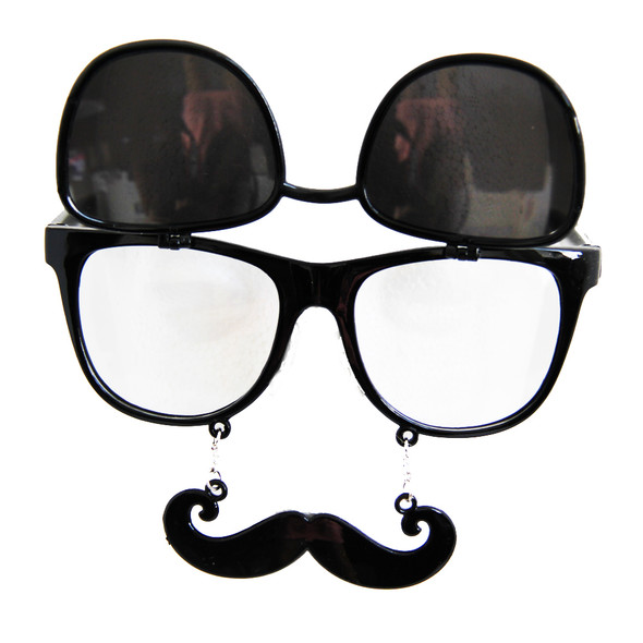Flip Up Mustache Sunglasses Black 7402