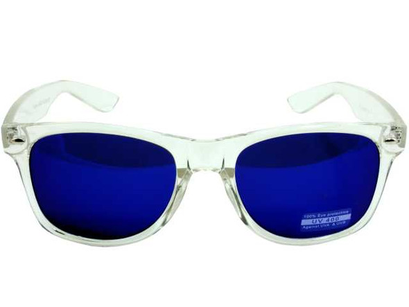 Vintage 80 Style Clear Frame Blue Lens Sunglasses 12 PACK WS7062