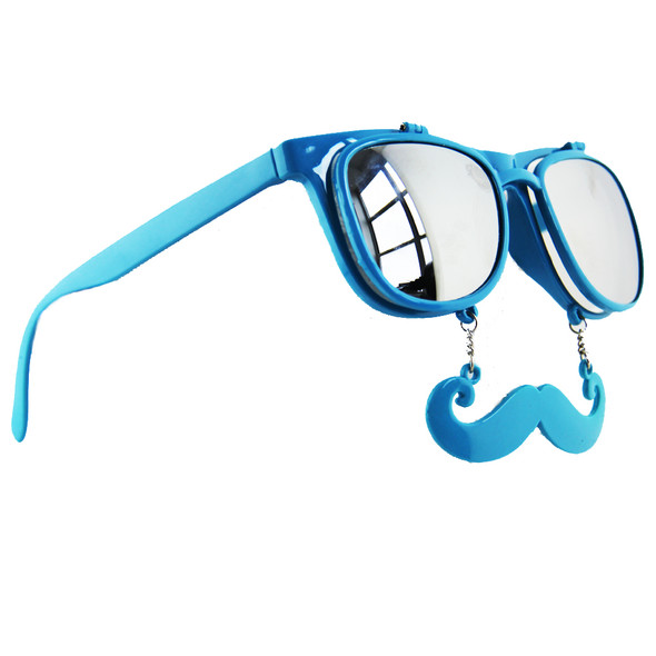 Flip Up Mustache Sunglasses Blue 12 PACK WS7400
