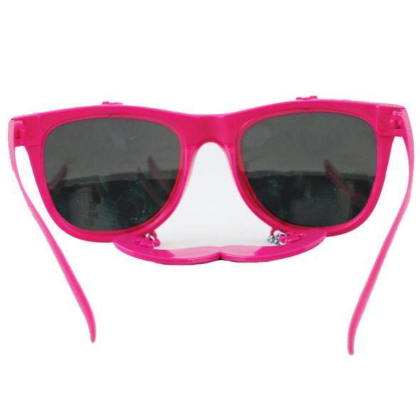 Flip Up Mustache Sunglasses Hot Pink 12PK WS7401