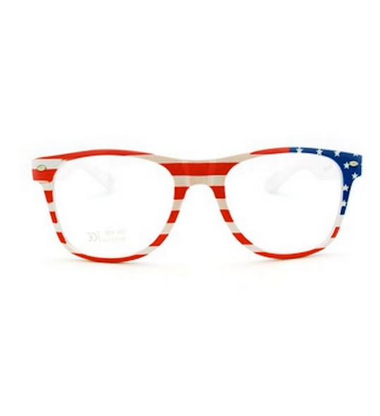 American Flag Adult Glasses 4th of July Clear Glasses 1061A