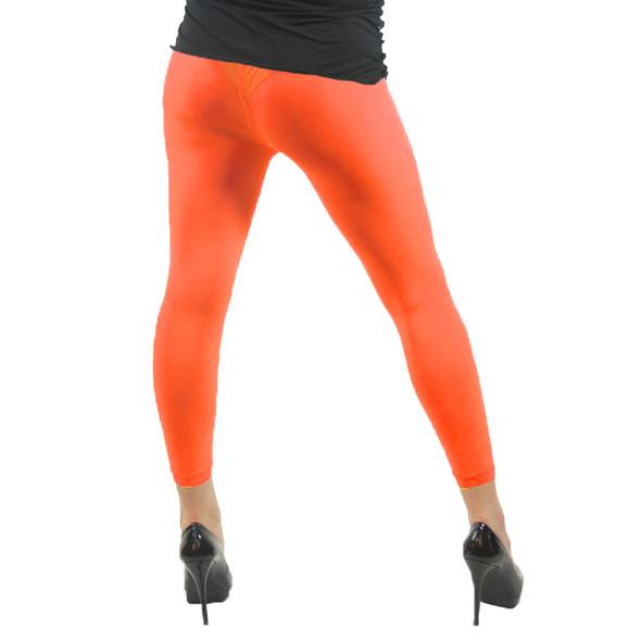 12 PACK Premium Opaque Neon Orange Footless Leggings Cotton/Polyester  8086D