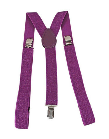Purple Suspenders Bulk Wholesale Clip On Elastic 12 PACK