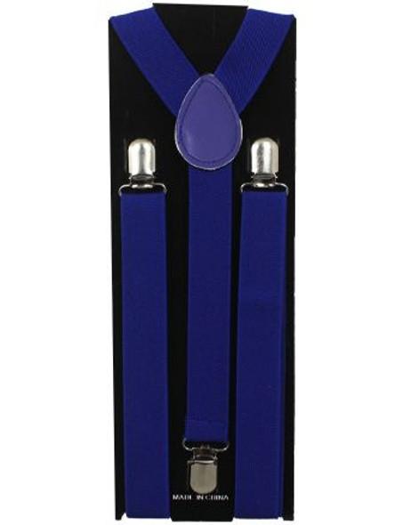 Blue Suspenders Bulk Wholesale Clip On Elastic 12PK 1292D