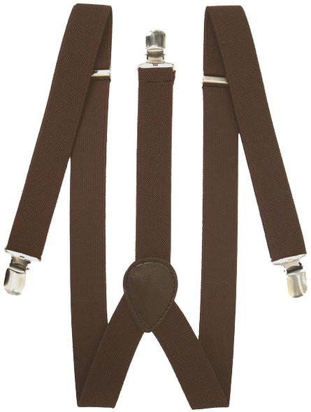Brown Suspenders Bulk Wholesale Clip On Elastic Adult Size  12 PACK 1293D