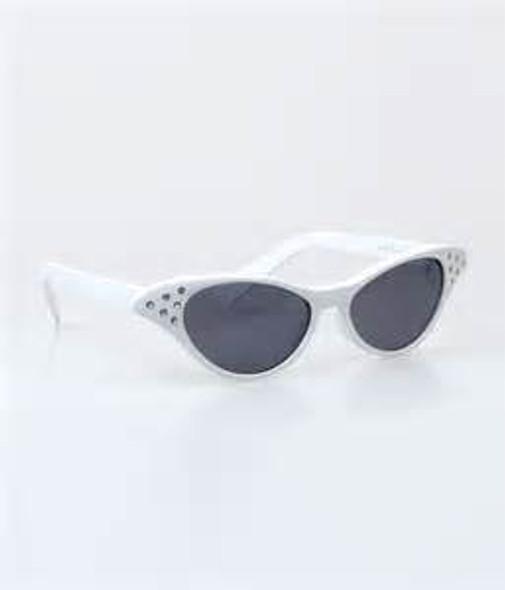 White Rhinestone Cat Eye Black Lens Sunglasses 1192A