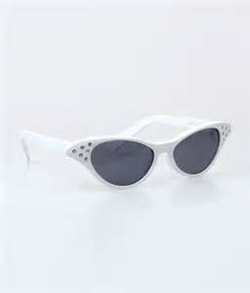 White Rhinestone Cat Eye Black Lens Sunglasses 1192A