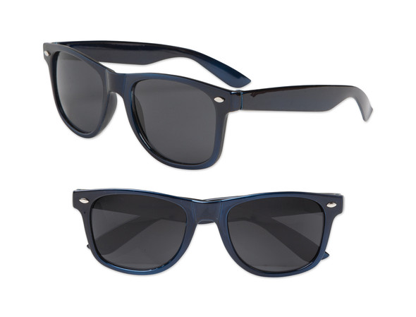 Nautical Navy Blue Adult Metallic 80 Style Sunglasses With Iconics 12 PACK 1078