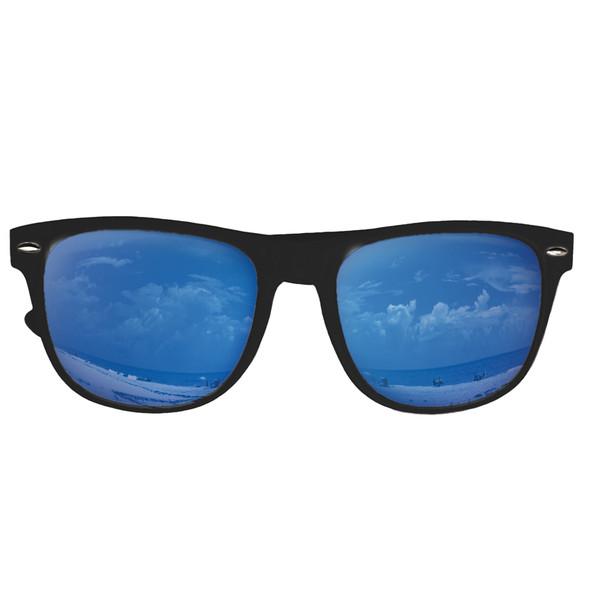 12 PACK Blue Mirror Lens Black Frame Sunglasses 1065D