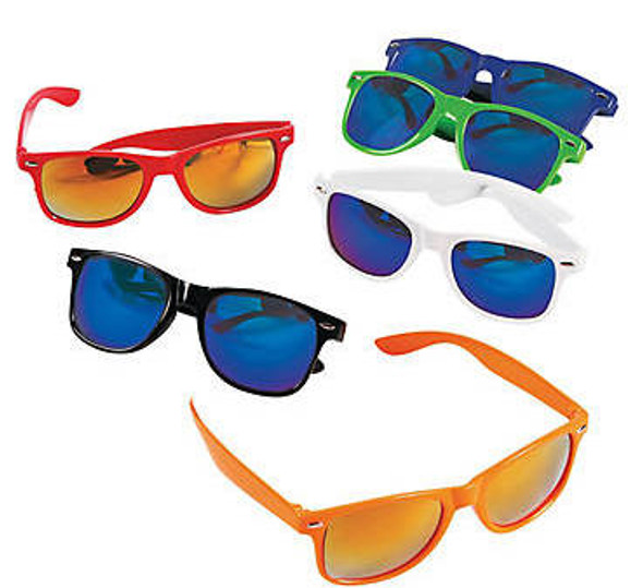 12 PACK Mirror Lens | Iconic 80's Style | Mixed Colors 1064D