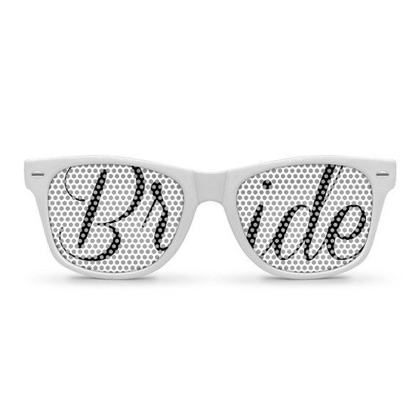 White Bride Pinhole Glasses With Black Bride Text BW1000