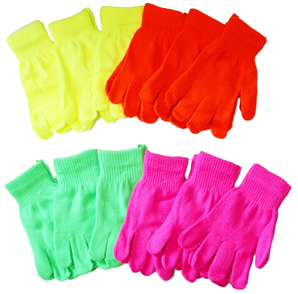 Knit Gloves Neon Yellow  50770