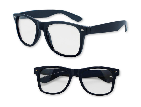 Navy Blue with Clear Lens 80s Styles Sunglasses Adult 12 PACK 10820