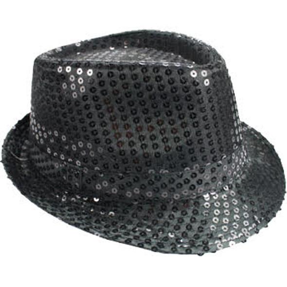 Black Sequin Fedora | Black Party Hats | 18002 Adult Size