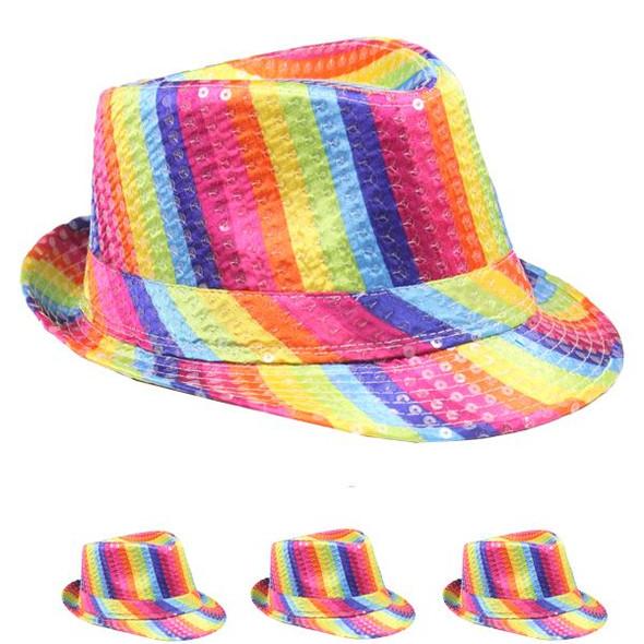 Bulk Rainbow Hats | Rainbow Fedoras | 18006 Adult Size 12 PACK