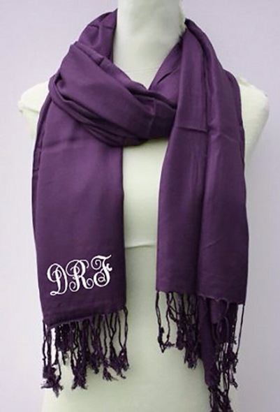 Monogrammed Blanket Scarf | Printed Scarf | Wedding Pashmina | Superior Fine Wool Mix (Fonts in Picture Gallery)