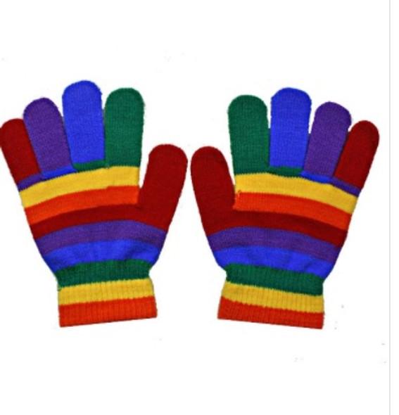 Rainbow Gloves Wholesale | Knit Fingerless or Full Finger 12PK 30212