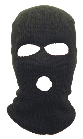 Wholesale Ski Masks | Bulk Ski Masks | 12 PACK Three Hole Knit  Black 3056D