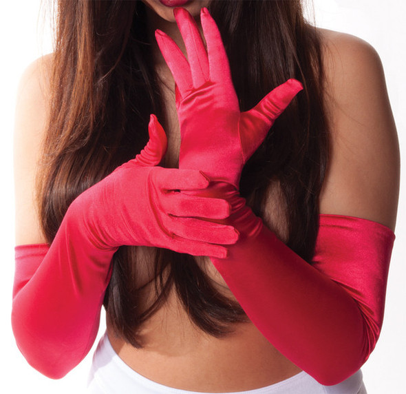 Bulk Red Gloves | 12 PACK | Opera Gloves Satin 1212DZ