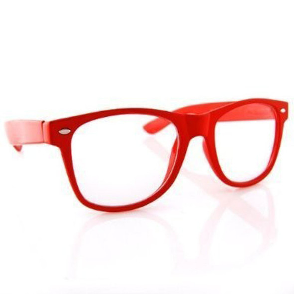 Clear Glasses Iconic 80's Style Red Adult Size 12 PACK