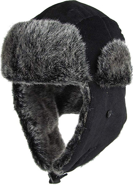 Navy Blue Trapper Hat | Grey Faux Fur 12 PACK 5831NB