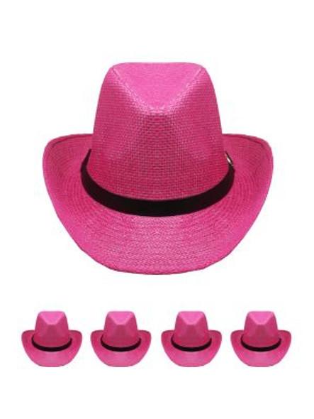 Pink Cowboy Hats Bulk |  Adult 12PACK 1480P