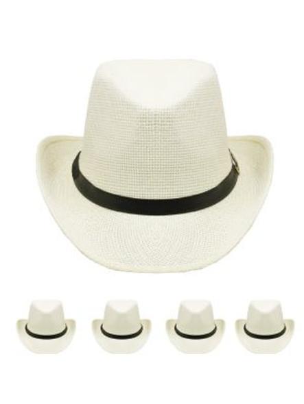 White Cowboy Hats Bulk |  Adult 12 PACK 1480WH UNISEX