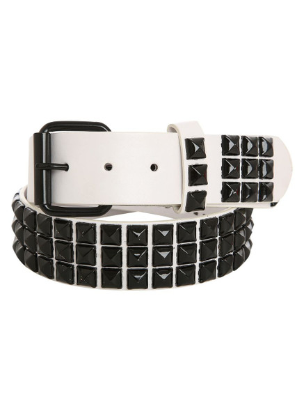 12 PACK White Studded Belt Black Studs Mix Sizes