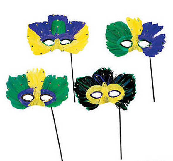 Mardi Gras Stick Feather Masks |  12 PACK Standard