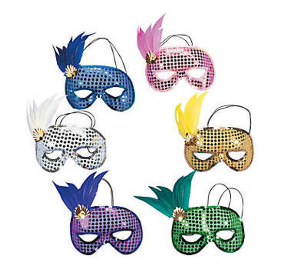 Mardi Gras Masks Sequin Feather   DELUXE 12 PACK