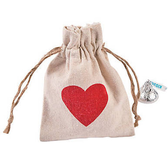 Heart Canvas Drawstring Treat Bags |  12 PACK 20014