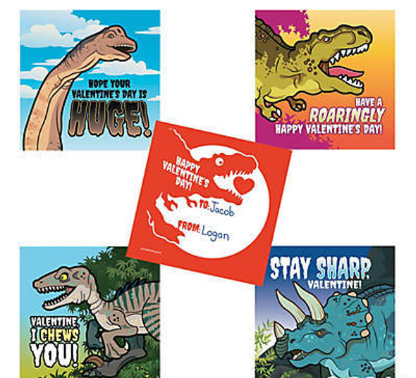 Dinosaur Valentines Day Cards Stickers | 24 SHEETS 20018