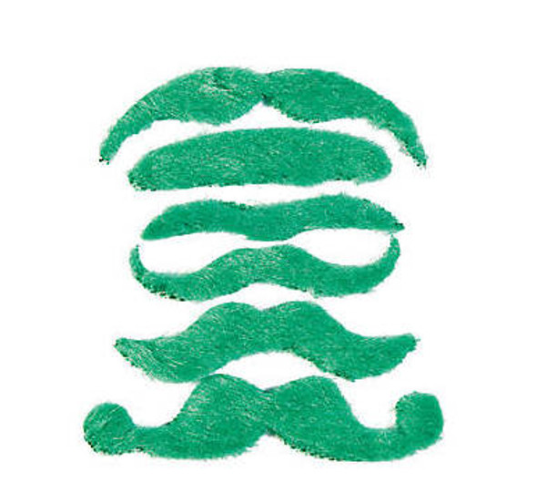 St Patricks Green Mustaches | Stick on Mustaches |  12 PACK 1693GR