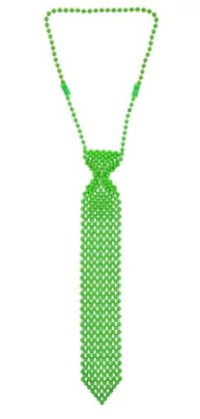 "St Patricks Green Tie | Beaded  13"" 6807B 12 PACK"